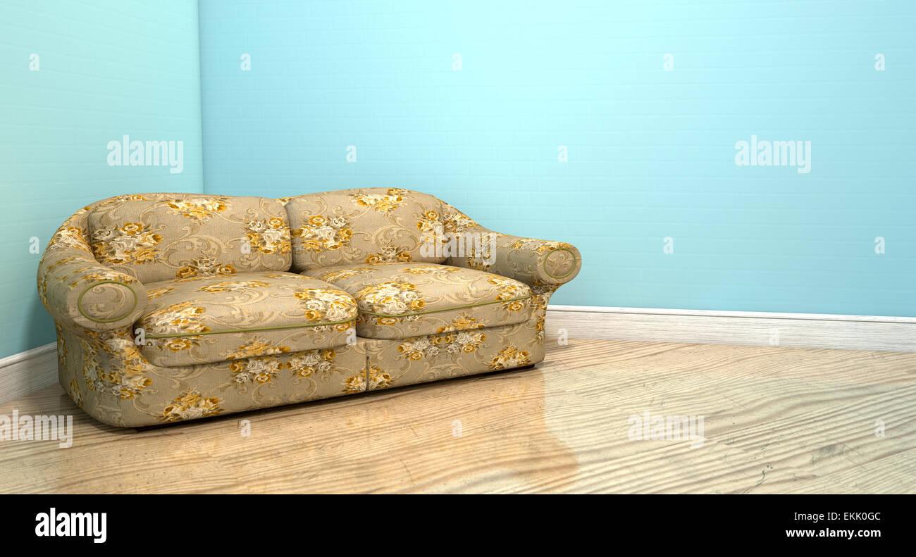 Divano Tessuto Floreale : Un vecchio divano vintage con un tessuto floreale in un angolo di