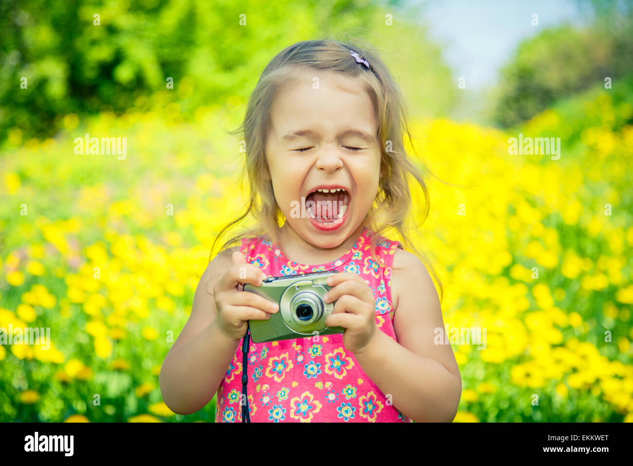 Bambina di scattare le foto su un prato Immagini Stock