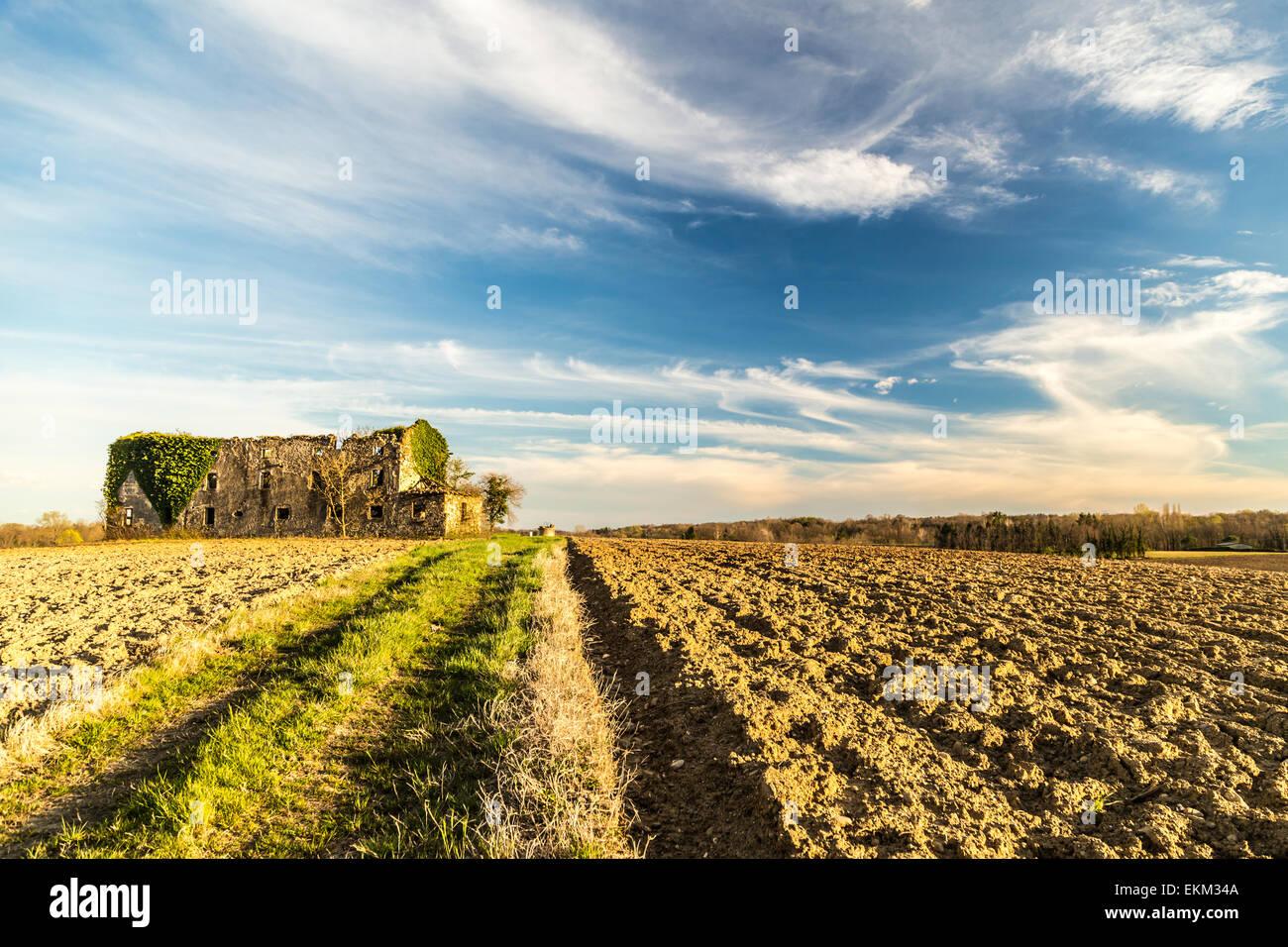 Un abbandonato e rovinato farm nei campi dell'Italia Immagini Stock