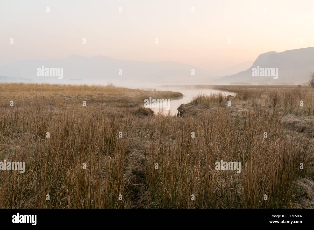 Alba e la nebbia di iniziare a sollevare come il fiume Derwent incontra Derwentwater - Lake District inglese Immagini Stock