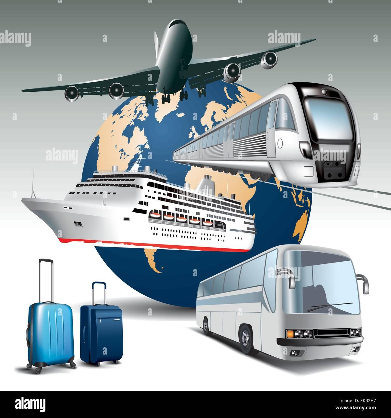Il trasporto di passeggeri da parte di tutti i mezzi di trasporto. Illustrazione Vettoriale Immagini Stock