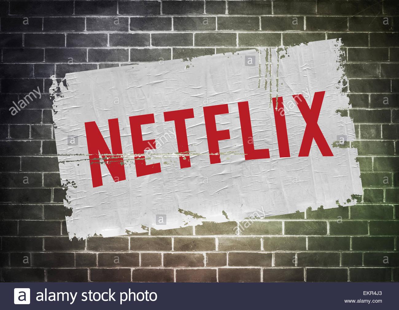 Netflix icona logo poster Immagini Stock