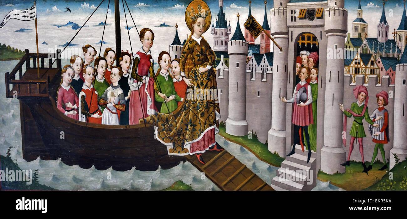 Colonia 1455 - 1460 La leggenda di Sant'Orsola; Arrivo a Tiel il tedesco in Germania Immagini Stock