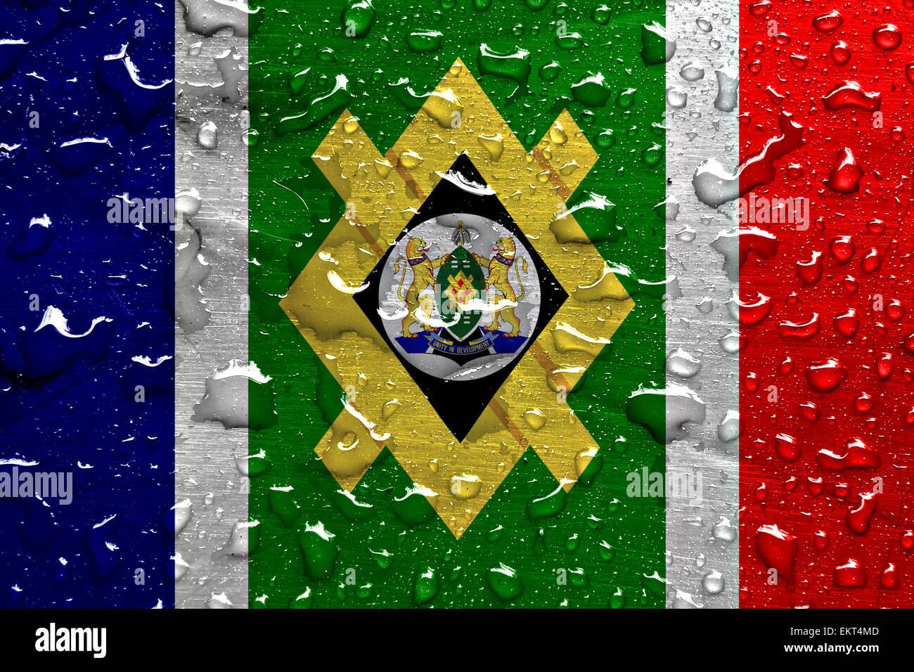 Bandiera di Johannesburg con gocce di pioggia Immagini Stock