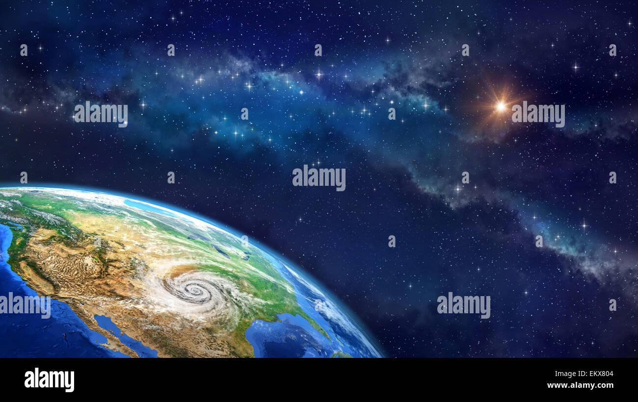 Molto le immagini ad alta definizione del pianeta terra nello spazio esterno con un ciclone sul suolo statunitense. Immagini Stock