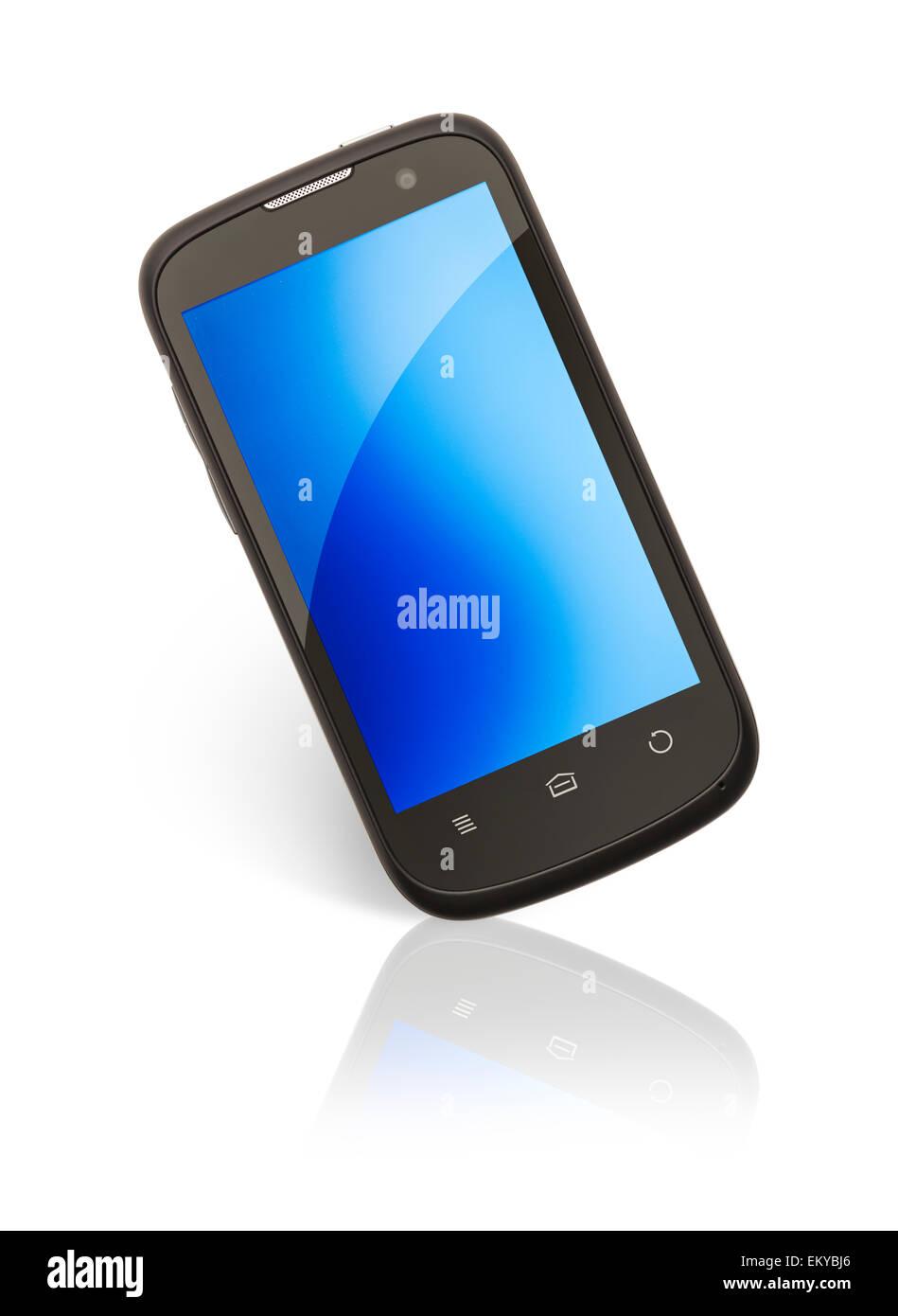 Blank Smart Phone con copia spazio isolato su sfondo bianco. Immagini Stock