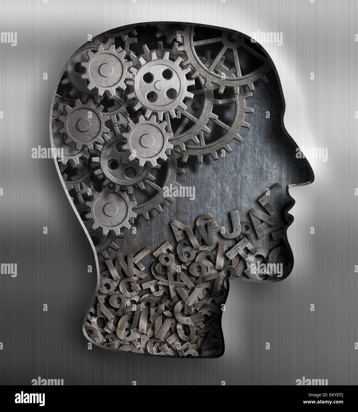 Cervello di metallo. Pensare, psicologia, creatività, concetto di linguaggio. Immagini Stock