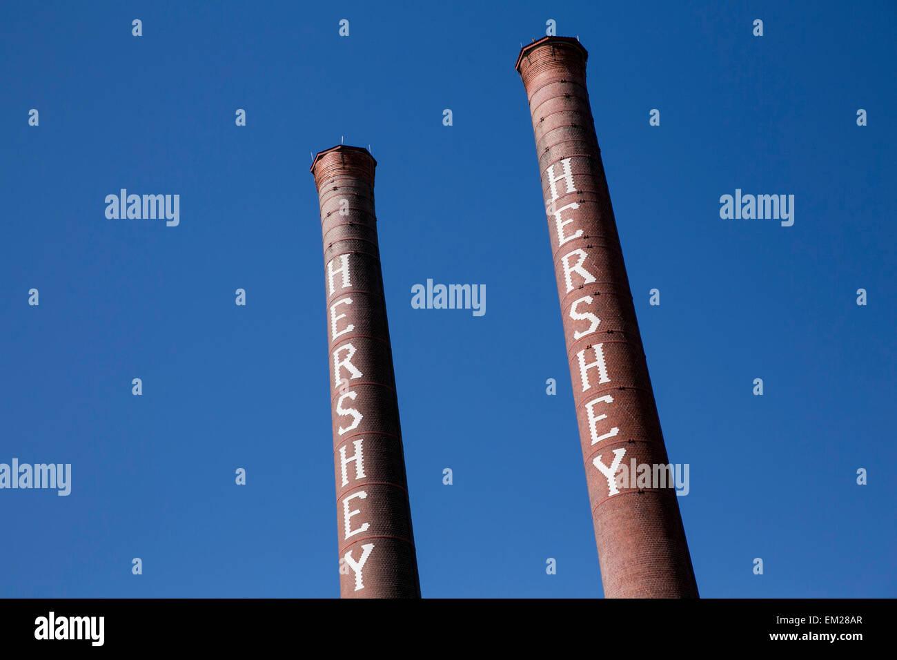 Una vista dell'originale Hershey Chocolate Factory di Hershey, Pennsylvania. Immagini Stock