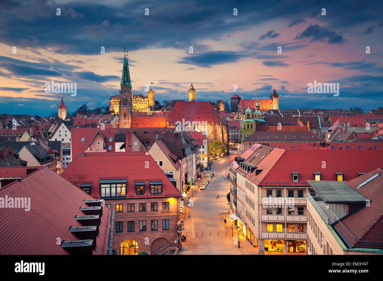 Norimberga. Immagine del centro storico di Norimberga, Germania al tramonto. Immagini Stock