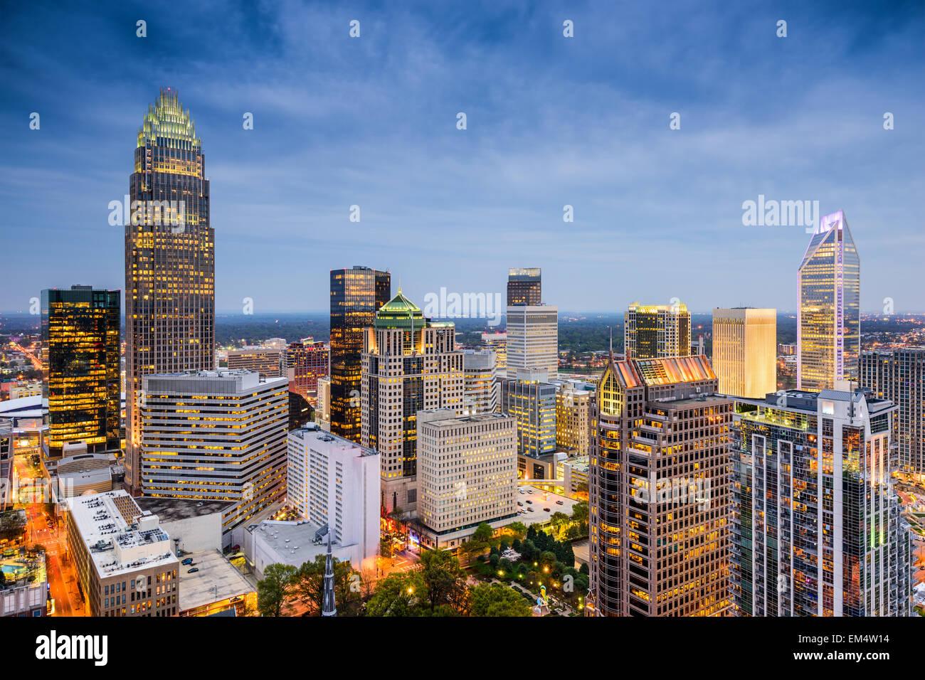 Charlotte, North Carolina, Stati Uniti d'America uptown skyline. Immagini Stock