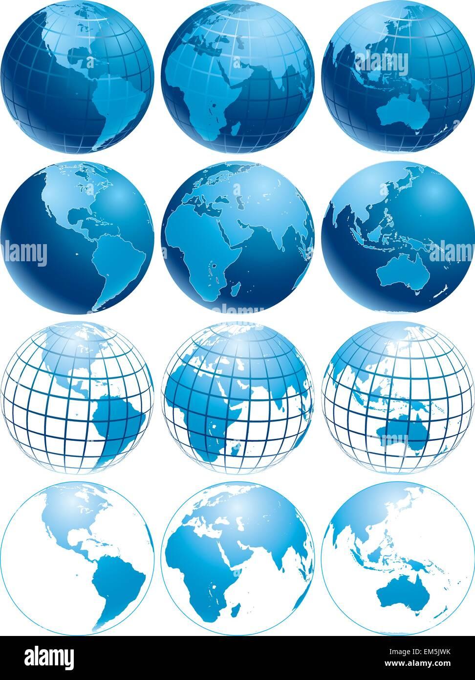Illustrazione Vettoriale di tre differenti shiny Blue Earth globi con aspetto diverso Immagini Stock