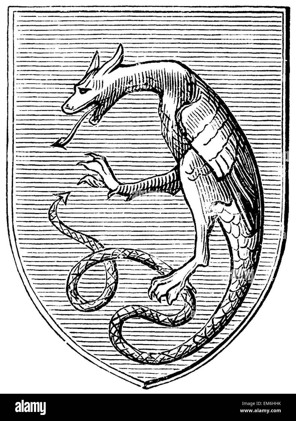 Drago araldico dal Medioevo Immagini Stock