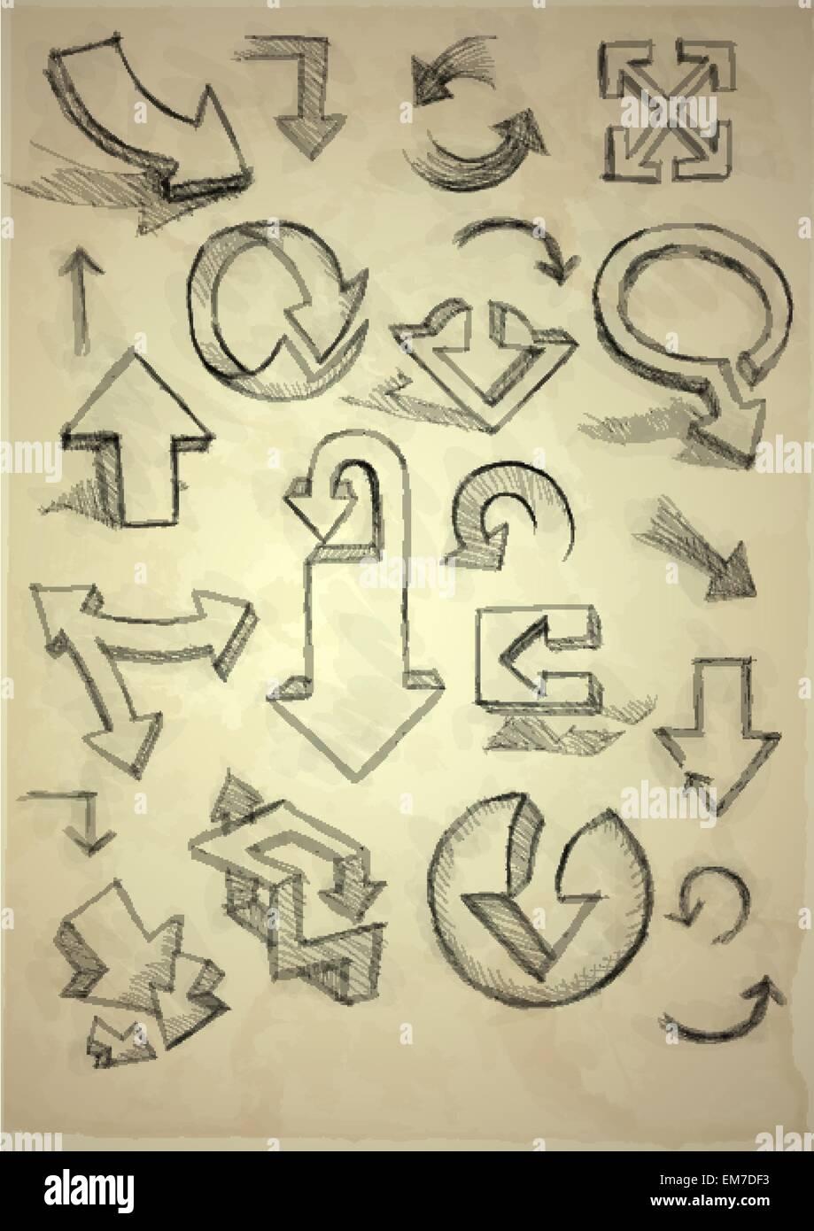 Set di disegnati a mano Doodle frecce Immagini Stock
