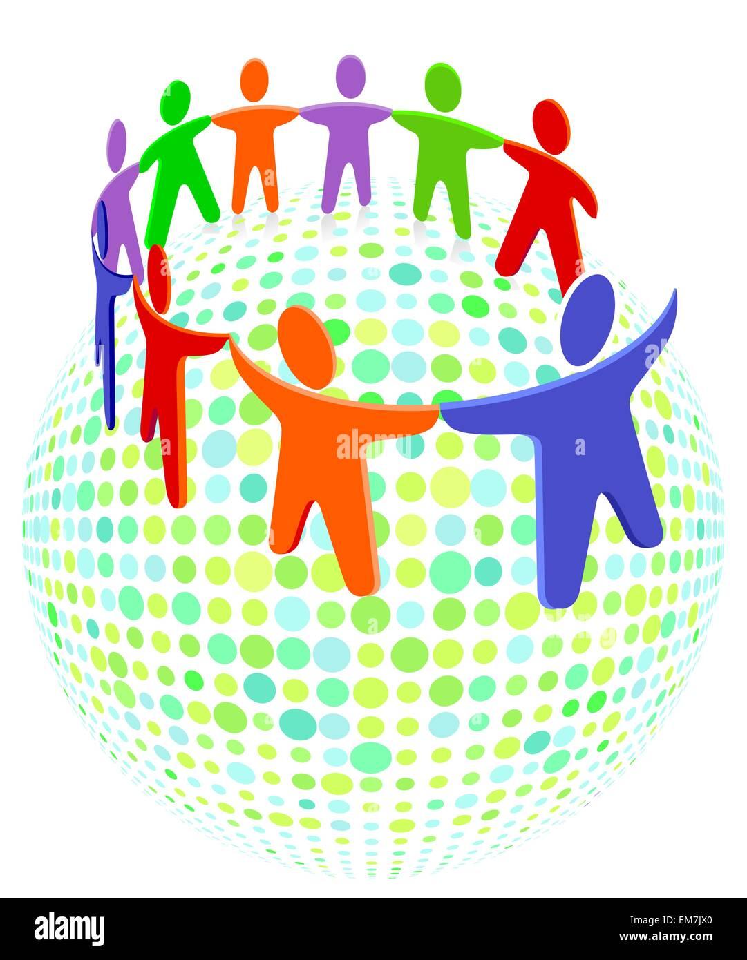 La solidarietà di gruppo e colorati di persone Immagini Stock