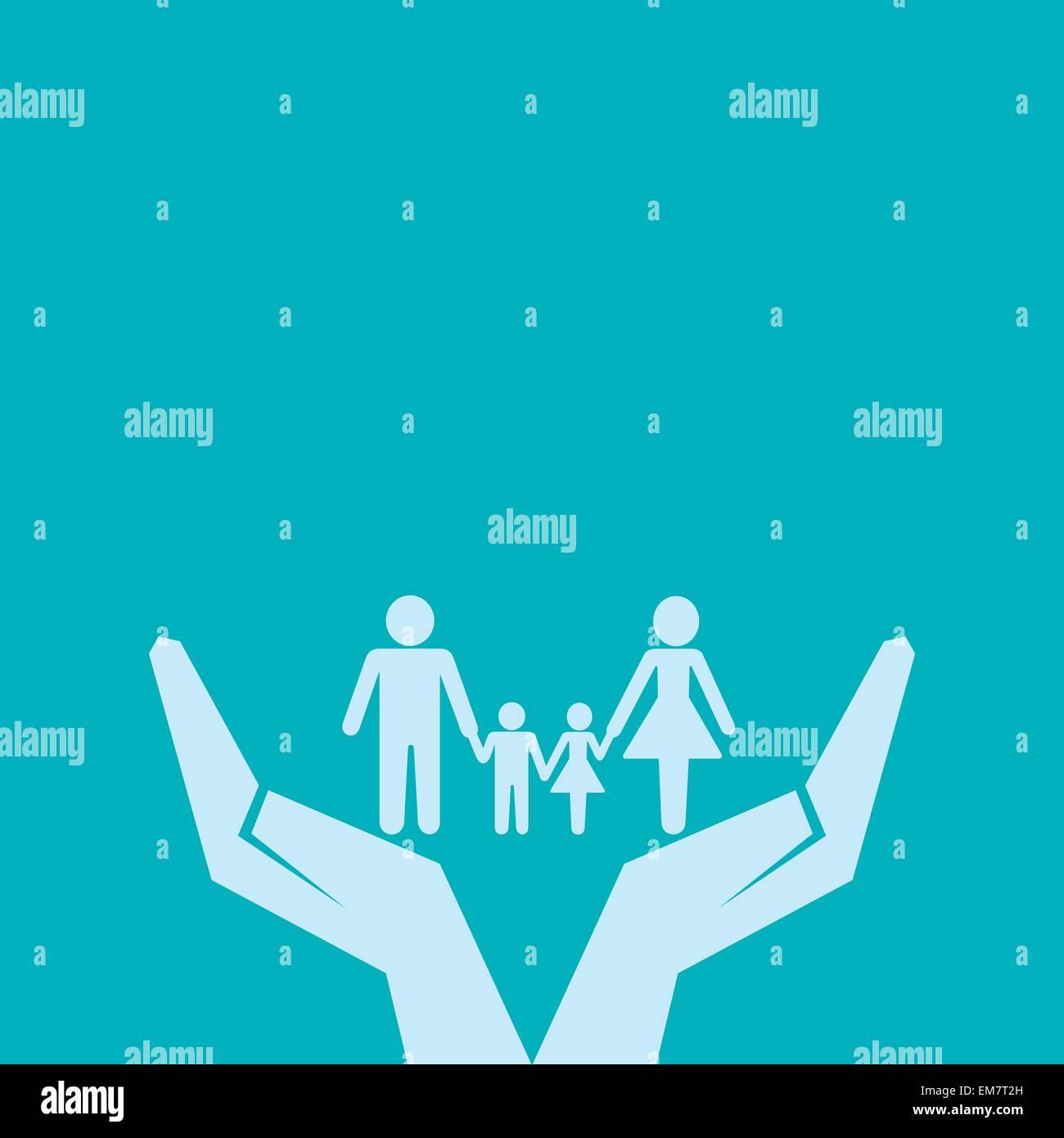 Fissare o salvare la famiglia sotto il concetto di mano Illustrazione Vettoriale