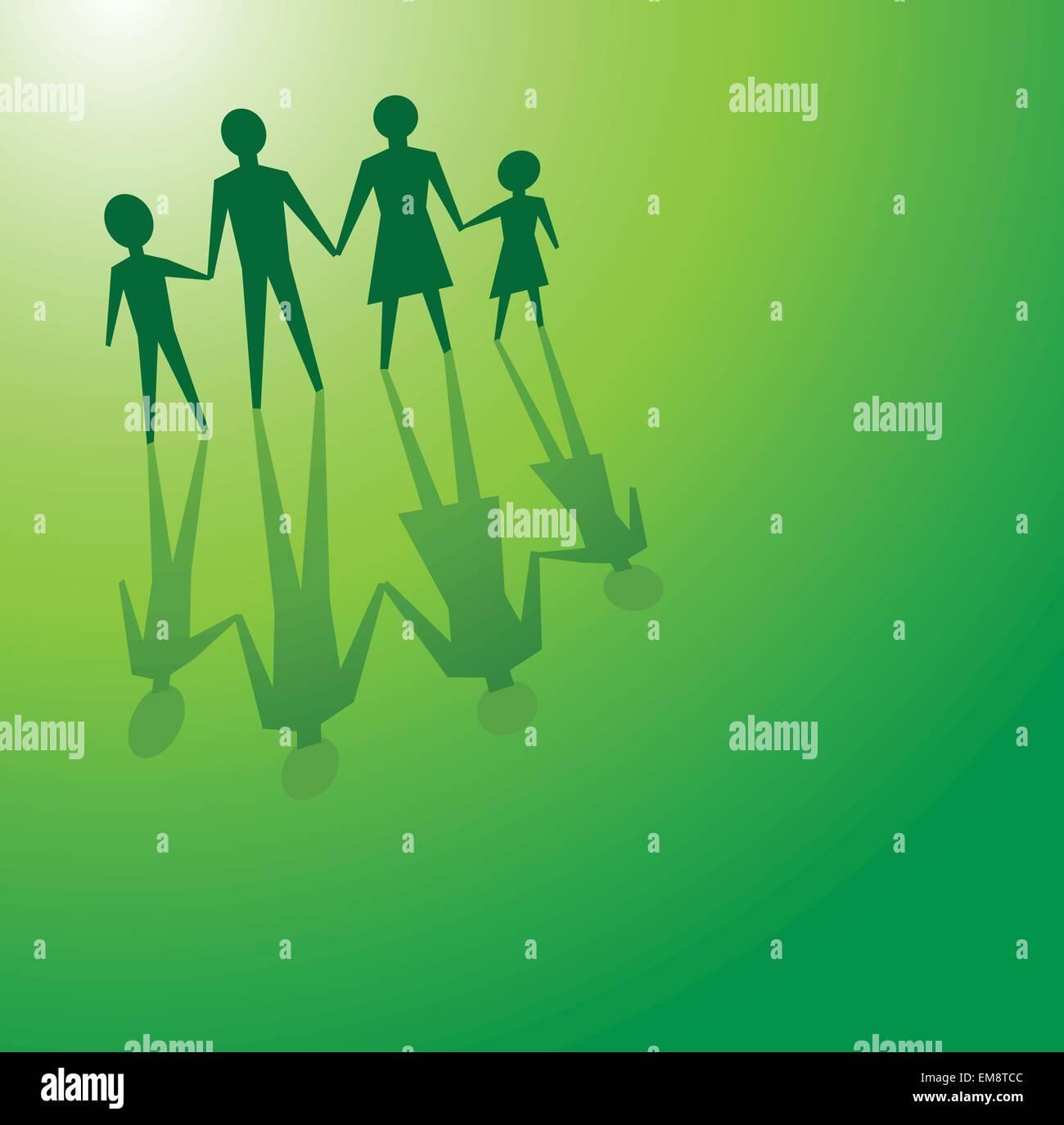 La famiglia in concetti di verde Immagini Stock
