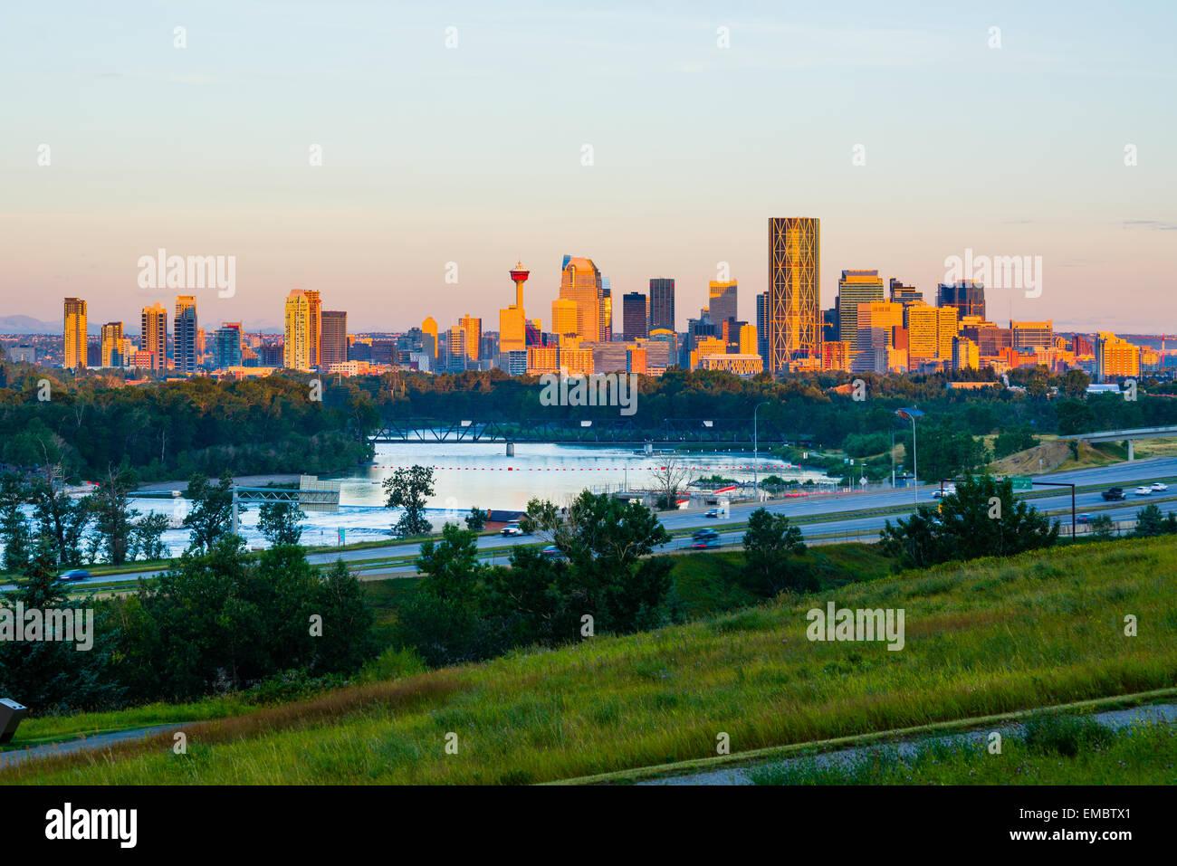 Calgary in Canada presso sunrise Immagini Stock
