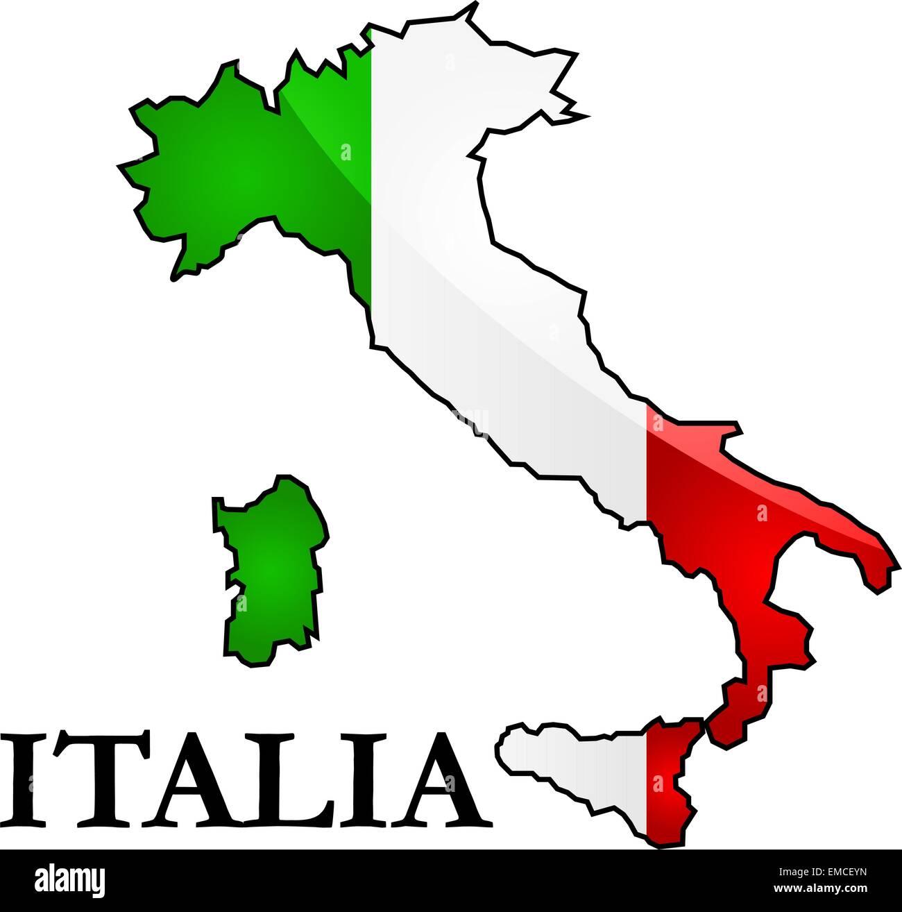 Italia Cartina Vettoriale.Mappa E Bandiera Di Italia Immagine E Vettoriale Alamy