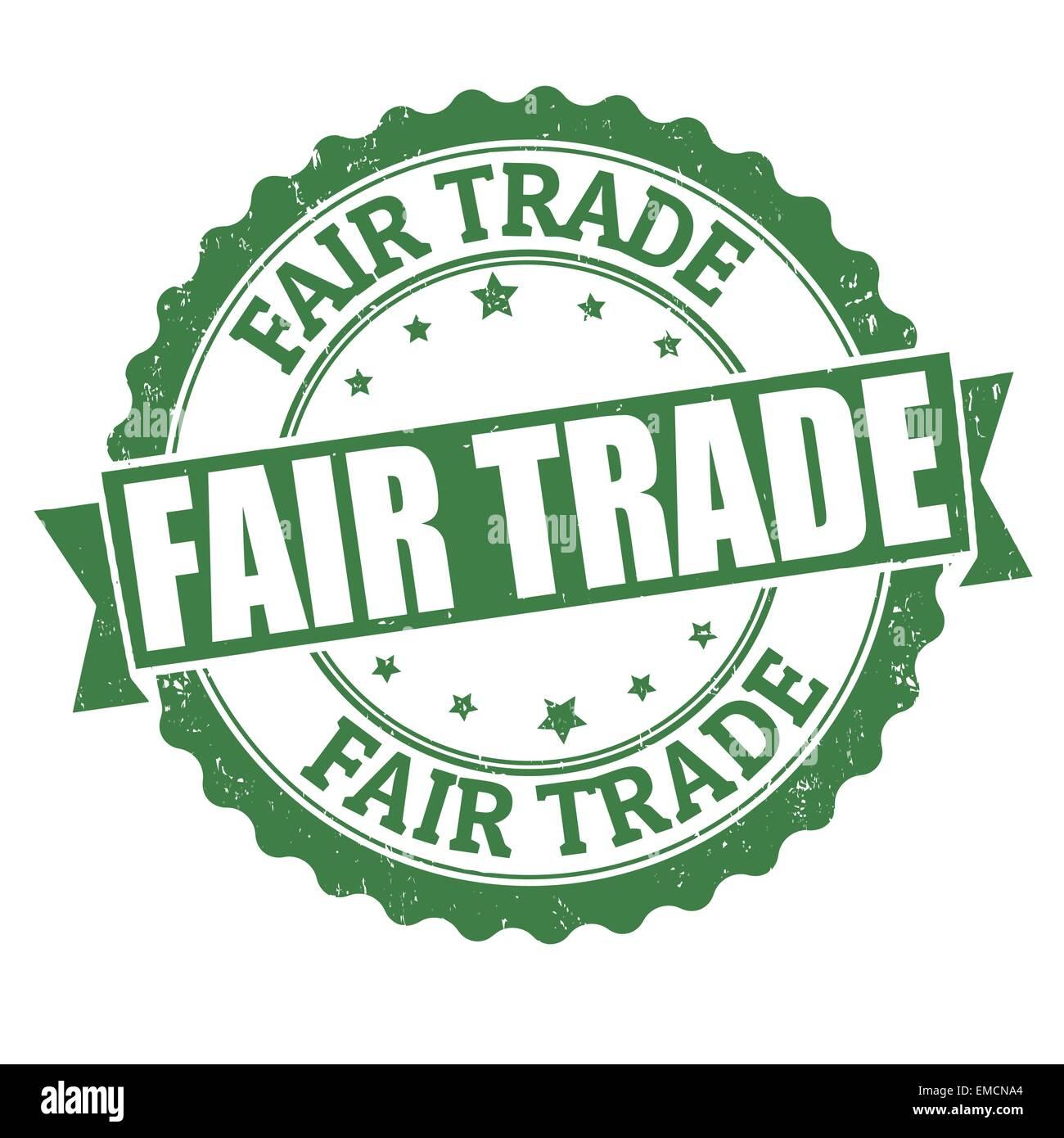 Il commercio equo e solidale il timbro Immagini Stock