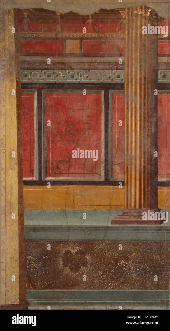 Pittura romana. Architettura illusionistica. Tardo repubblicano. I secolo A.C. Villa di P. Fannius Synistor a Boscoreale, Immagini Stock