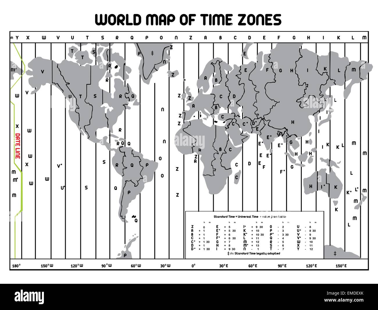 Cartina Fusi Orari Mondo.Timezone Map Immagini E Fotos Stock Alamy