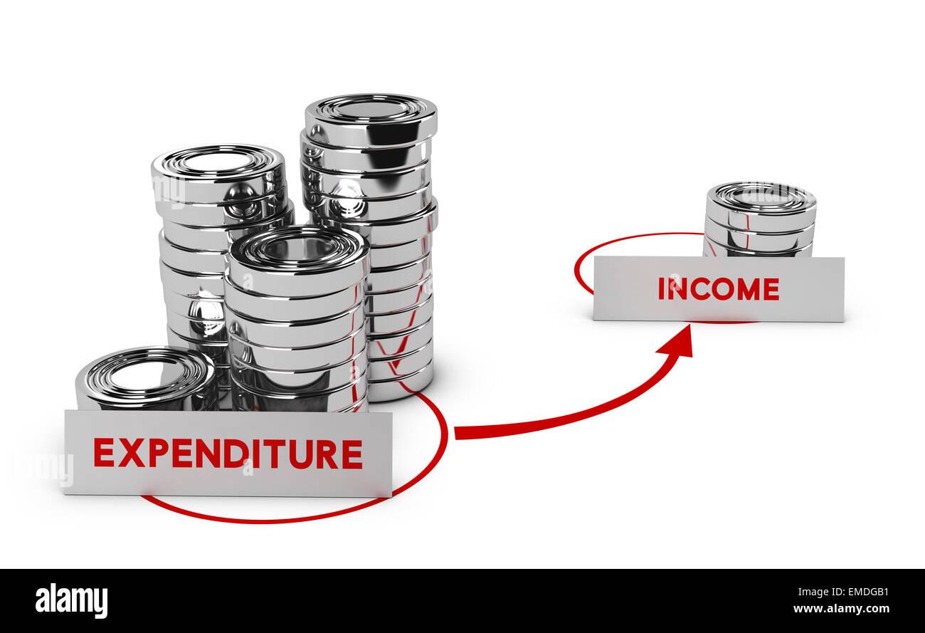 Monete generico su sfondo bianco, la spesa è superiore al reddito, simbolo del fallimento commerciale o debiti. Immagini Stock