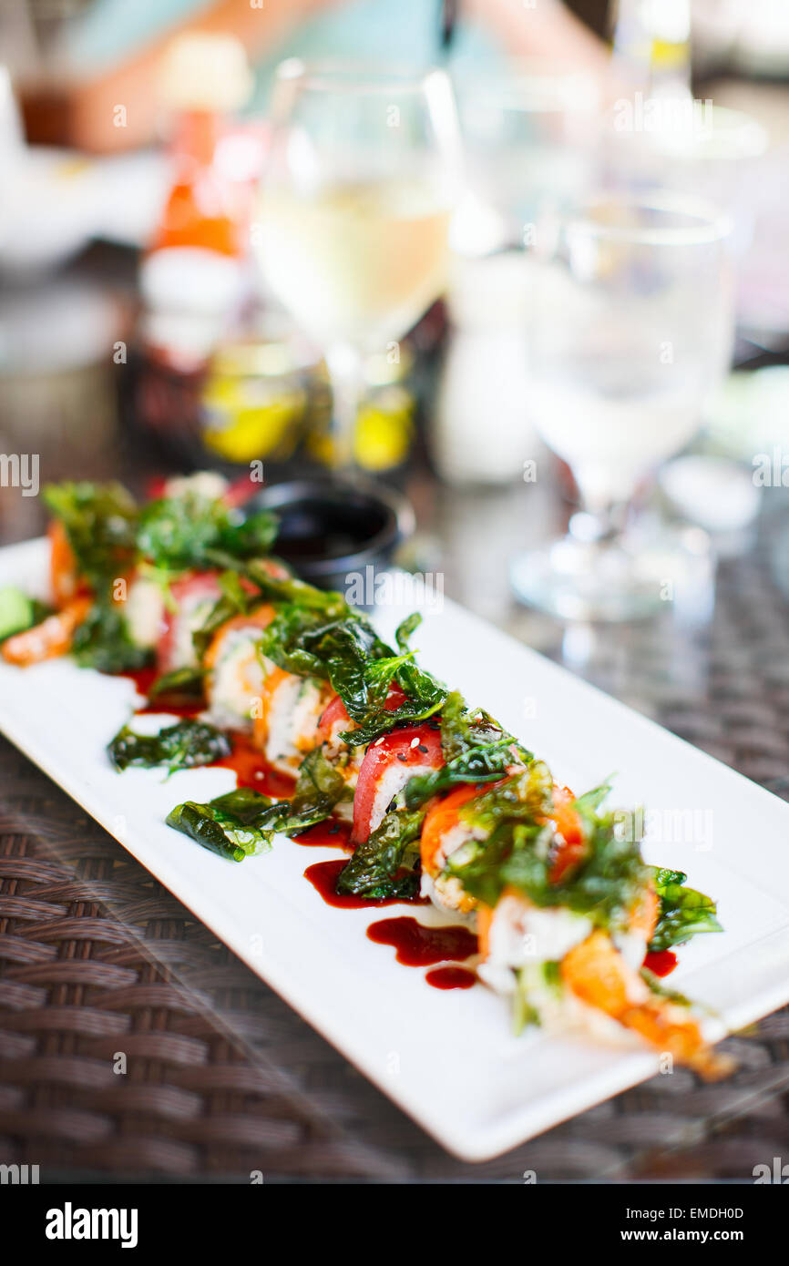 La cucina giapponese sushi rotoli Foto Stock