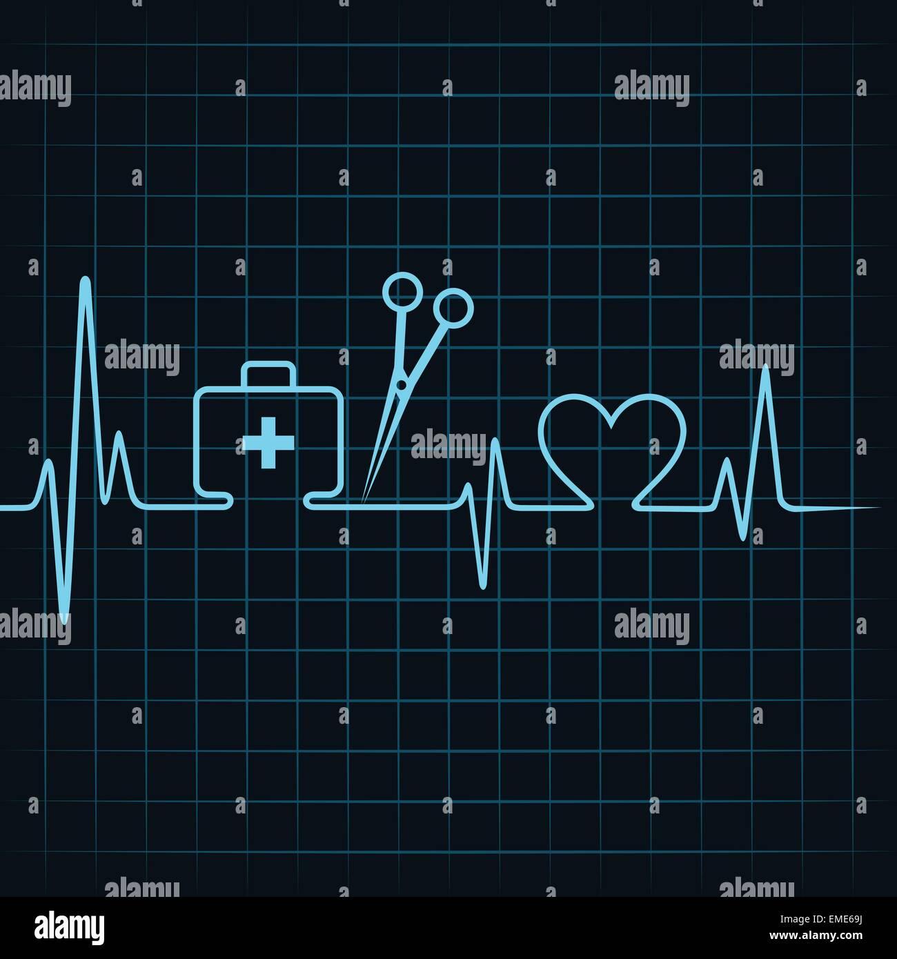 Heartbeat Fare Una Cassetta Di Pronto Soccorso Forbici E Il Simbolo