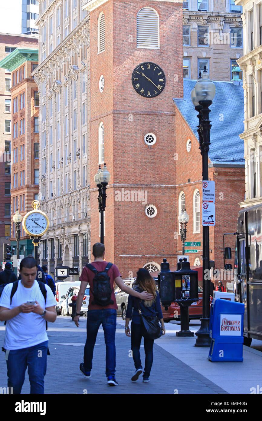 Il Boston Tea Party ha iniziato a questo Boston Freedom Trail landmark. La Old South Meeting House Museum e il sito Immagini Stock