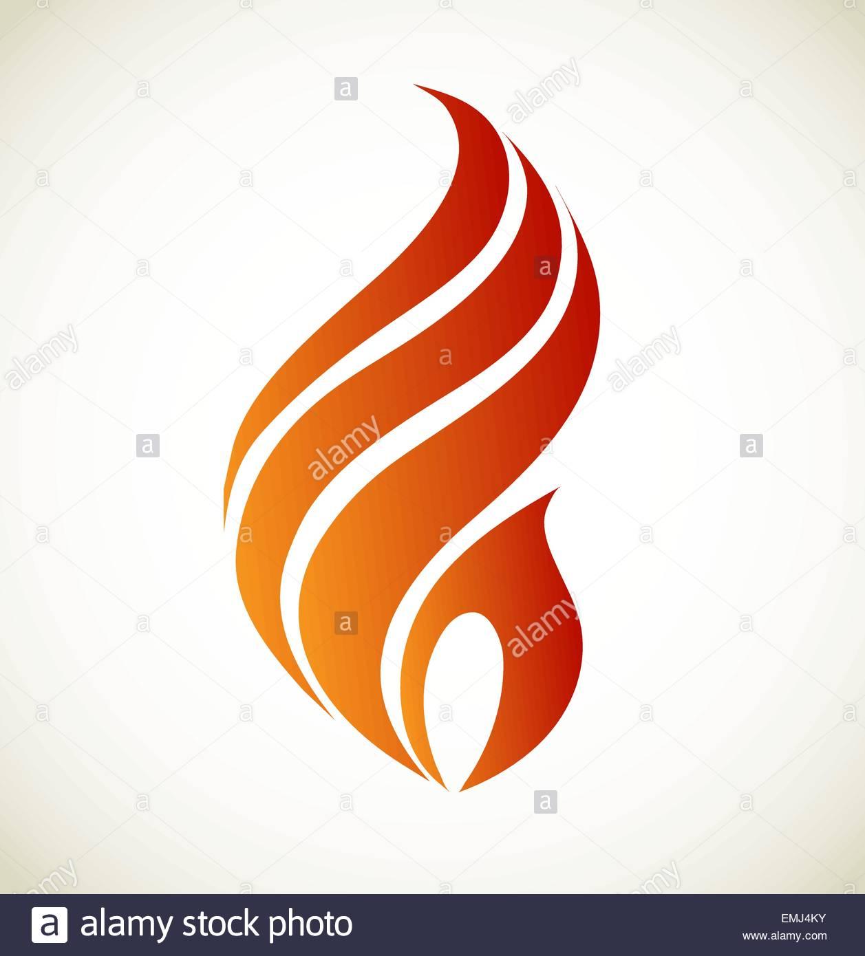Simboli fuoco su sfondo bianco vettore Immagini Stock