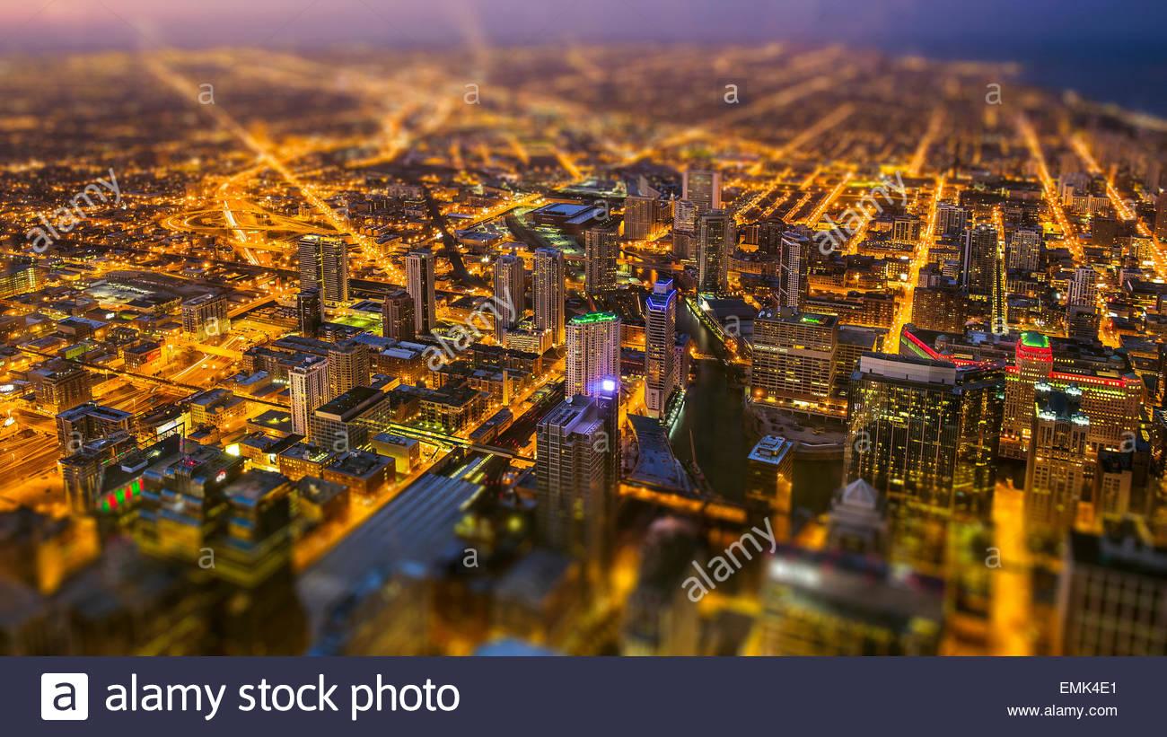 Generati digitalmente immagine della città vista aerea Immagini Stock