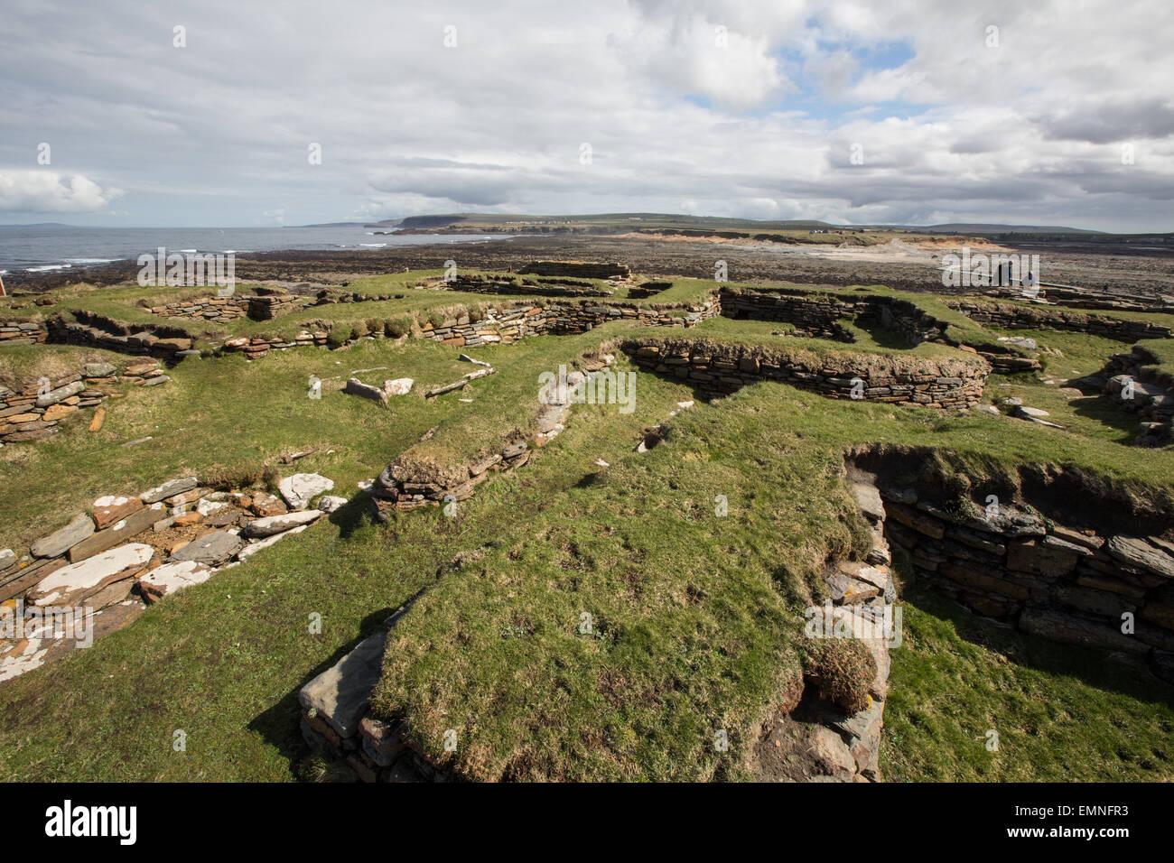 Brough di Birsay Norse insediamento, Orkney, Scozia Immagini Stock