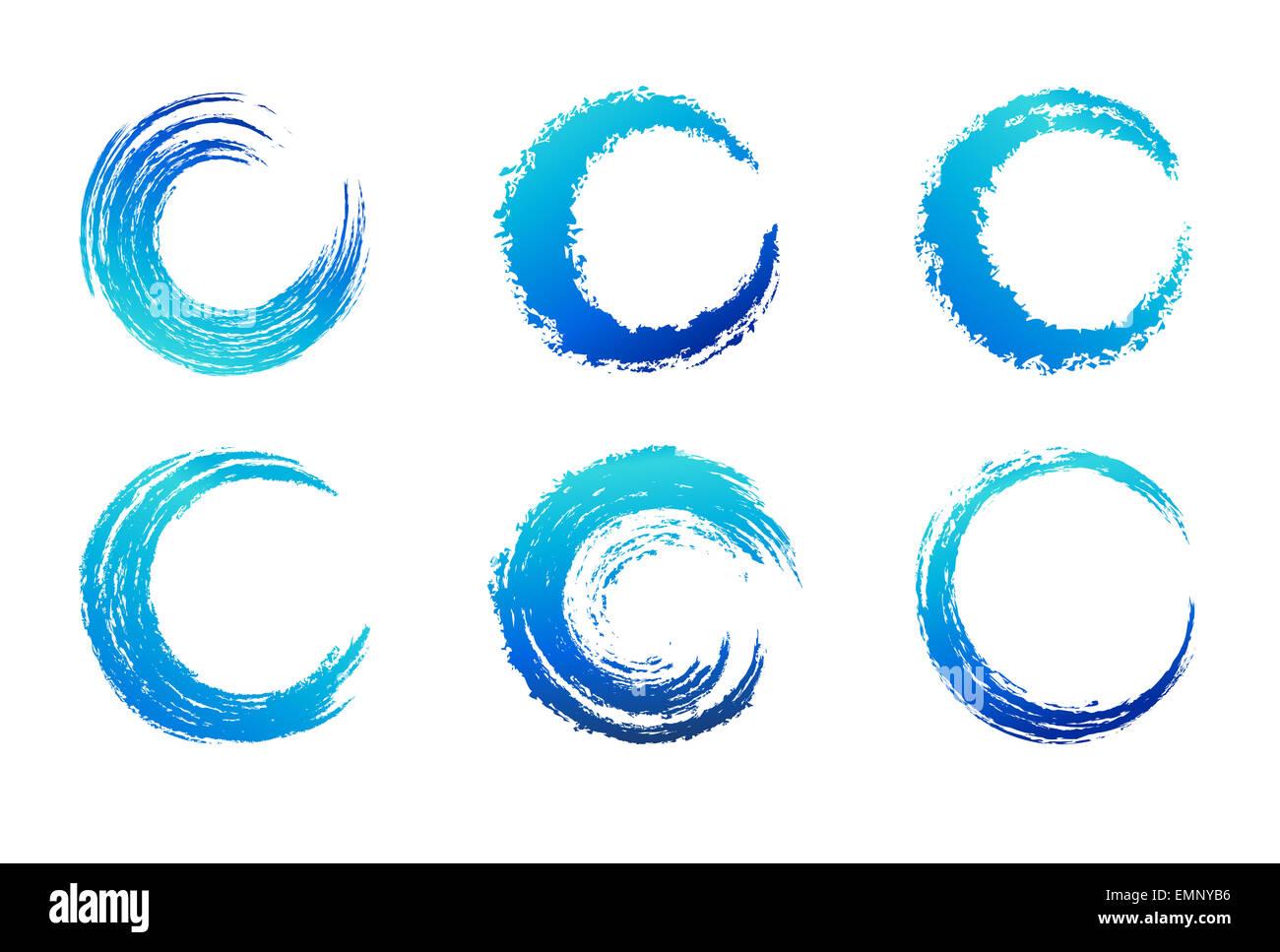 Circolare blu tratto di pennello Immagini Stock