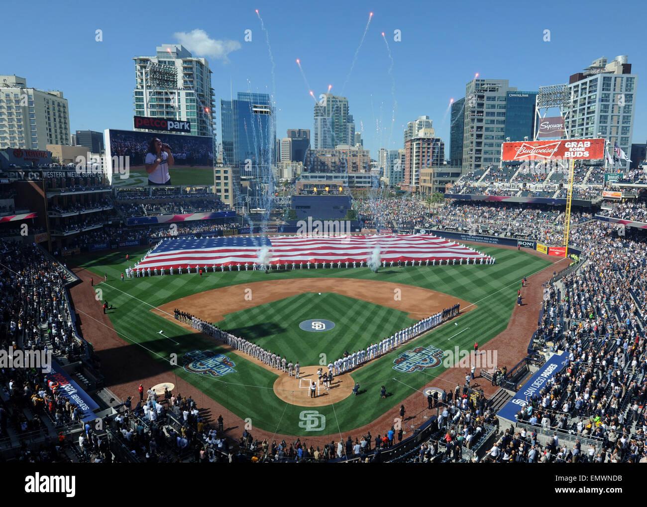 Il San Diego Padres professionale squadra di baseball di celebrare il giorno di apertura della stagione aprile 9, Immagini Stock
