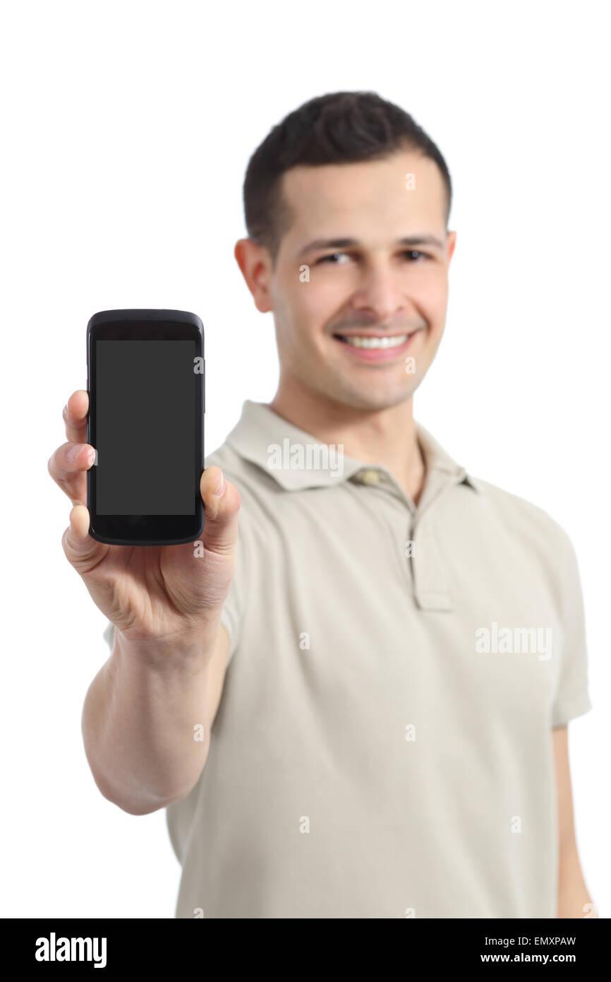 Uomo Bello Che Mostra Un Fustellato Smart Display Telefono Isolato