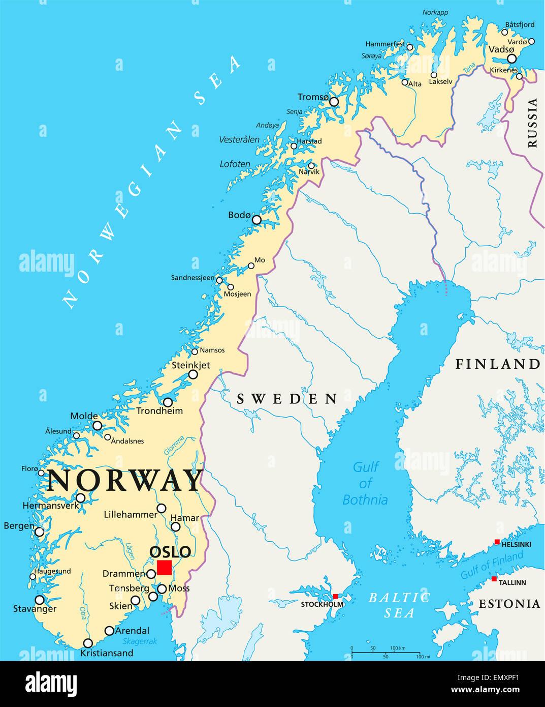 Cartina Della Norvegia.Norvegia Mappa Politico Con Capitale Oslo I Confini Nazionali