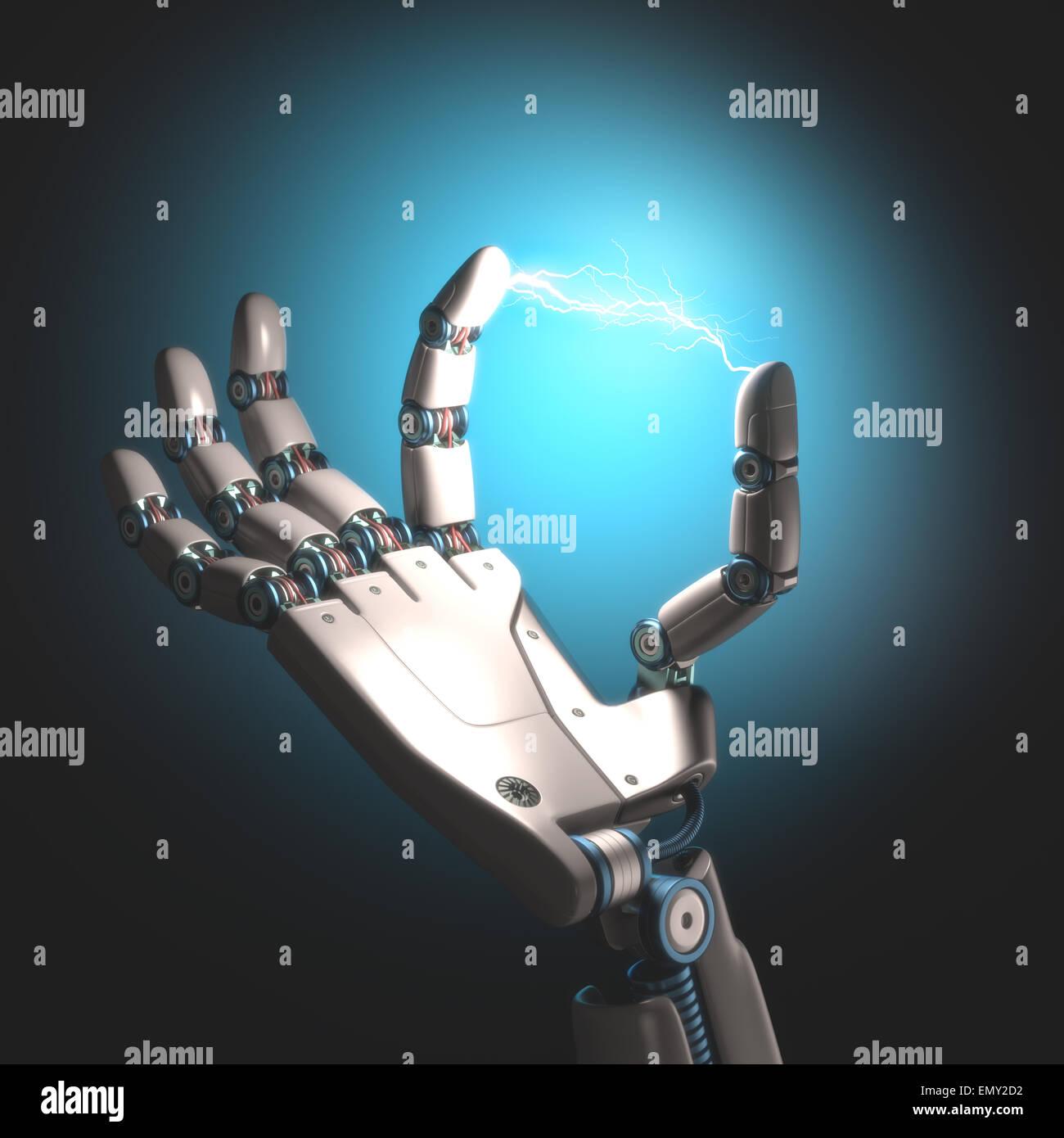 Mano di robot con l energia elettrica tra le dita dei piedi. Immagini Stock