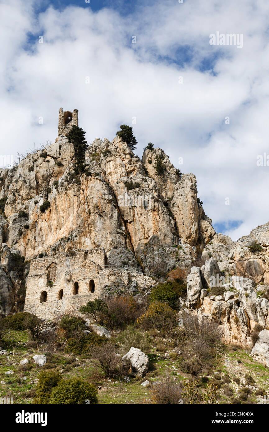 St Hilarion Castello, vicino (Girne Kyrenia), la parte settentrionale di Cipro Immagini Stock