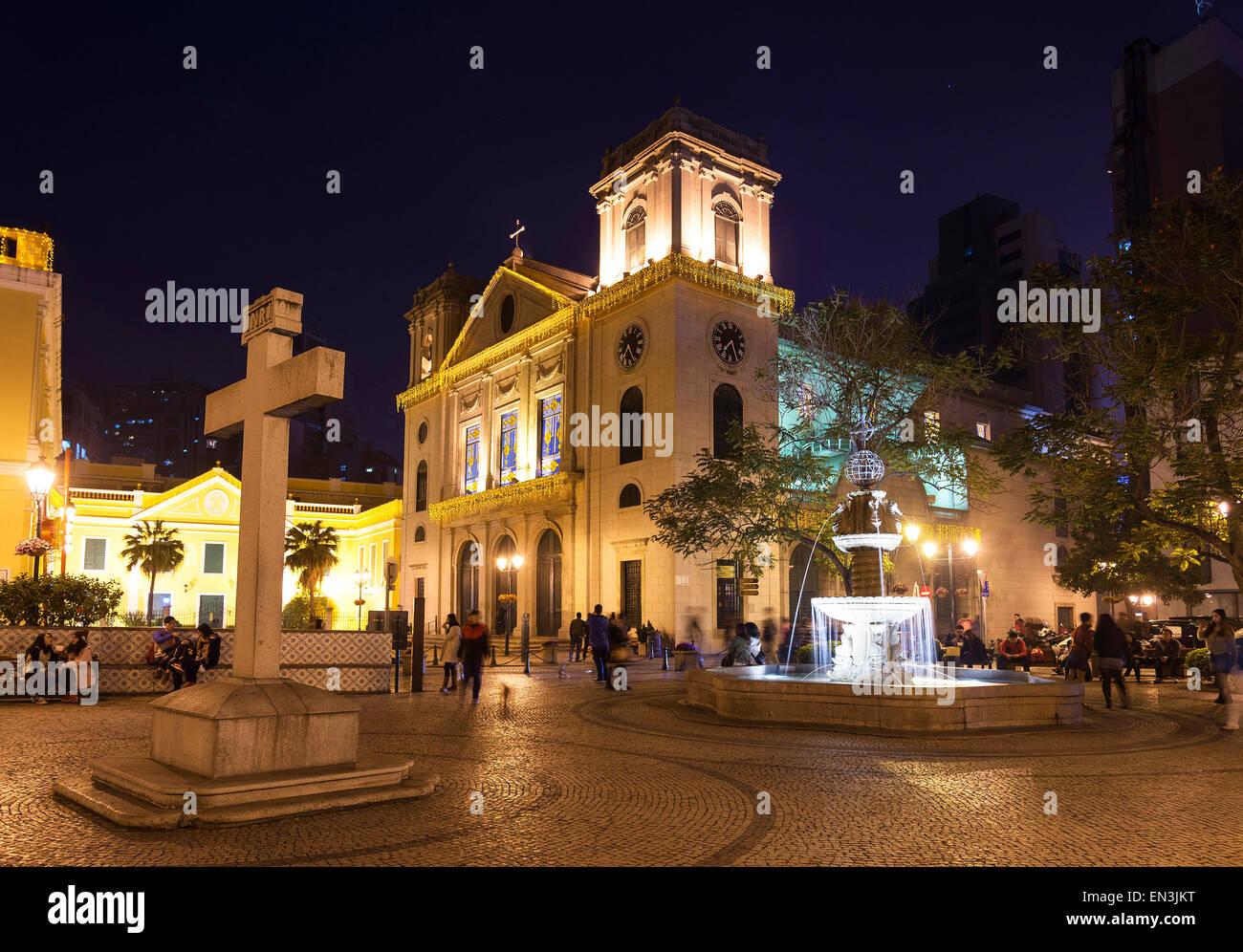 Portoghese vecchia chiesa coloniale nella piazza di Macao Macao Cina Immagini Stock