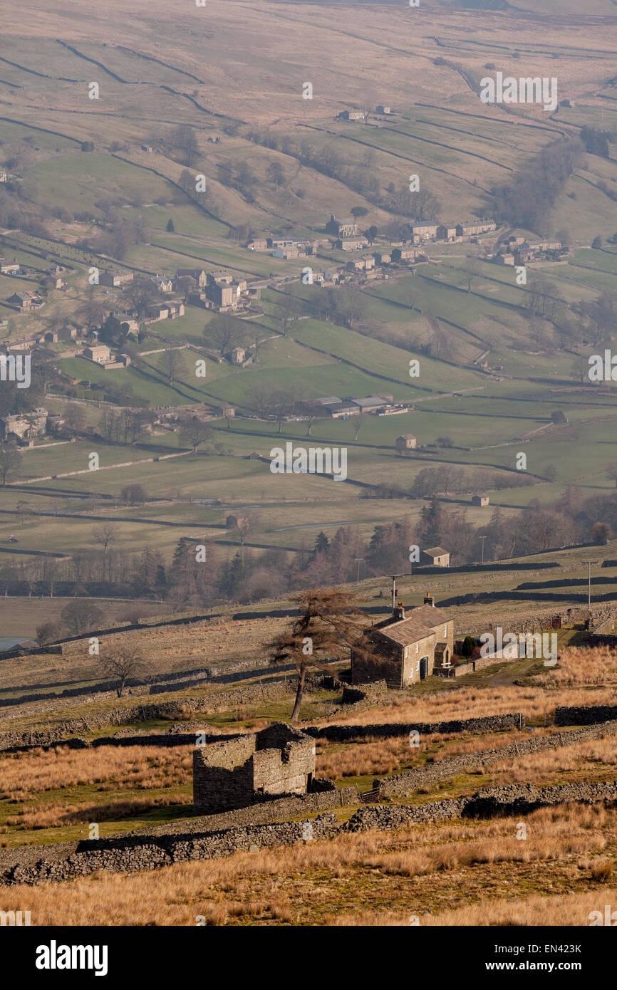 Campagna britannica paesaggi - Una vista attraverso Swaledale, North Yorkshire Dales National Park, England Regno Immagini Stock
