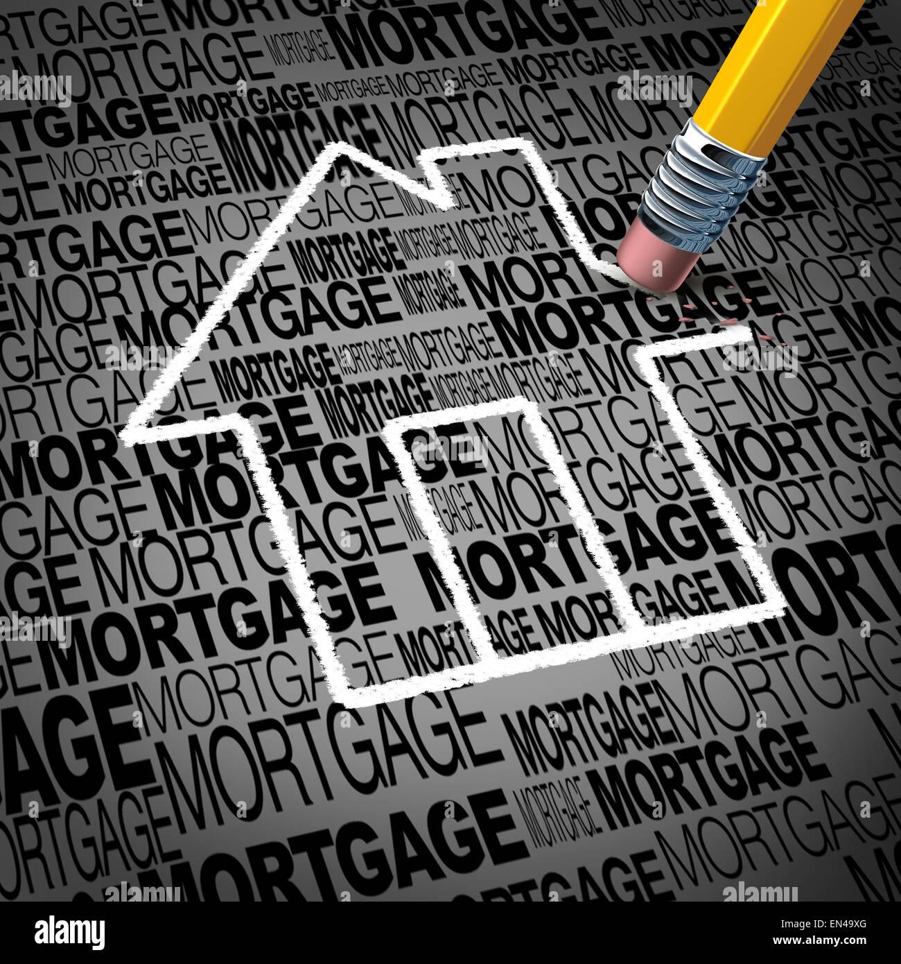Mutui casa concetto e immobili casa di proprietà simbolo di successo come una matita cancellando la forma di Immagini Stock