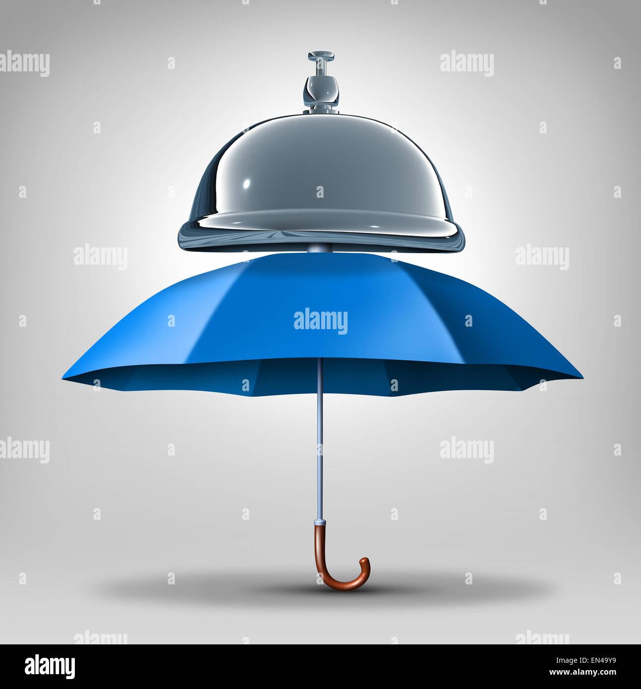 Servizi di protezione del concetto come un ombrello blu con una campana di servizio come un simbolo e un icona per Immagini Stock