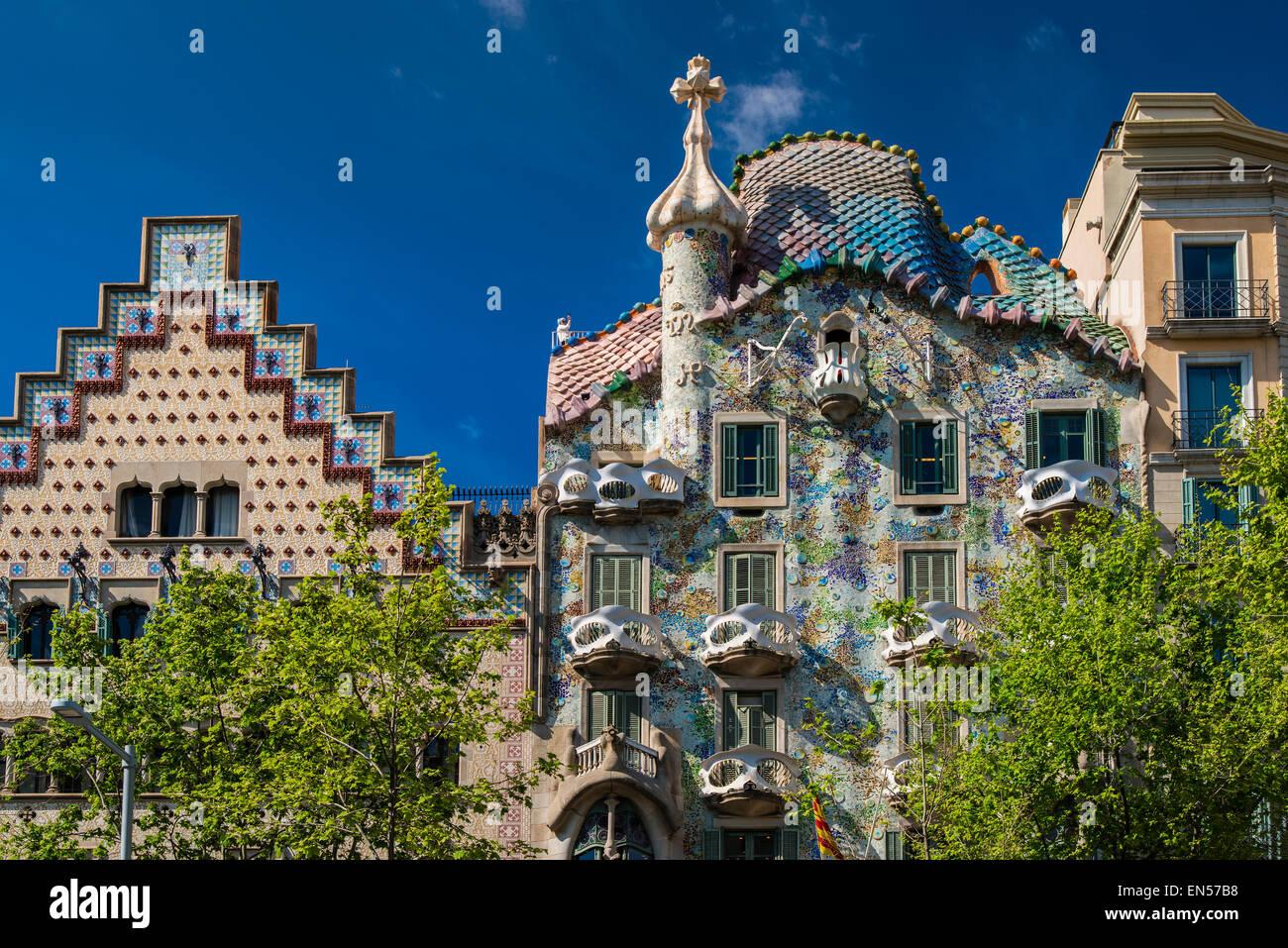 Casa Batllo e Casa Amatller, Passeig de Gracia, Barcellona, in Catalogna, Spagna Immagini Stock