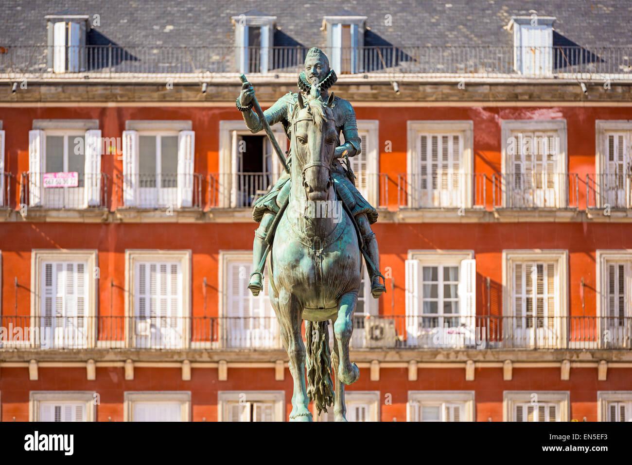 Madrid, Spagna monumento in Plaza de Espana. Immagini Stock