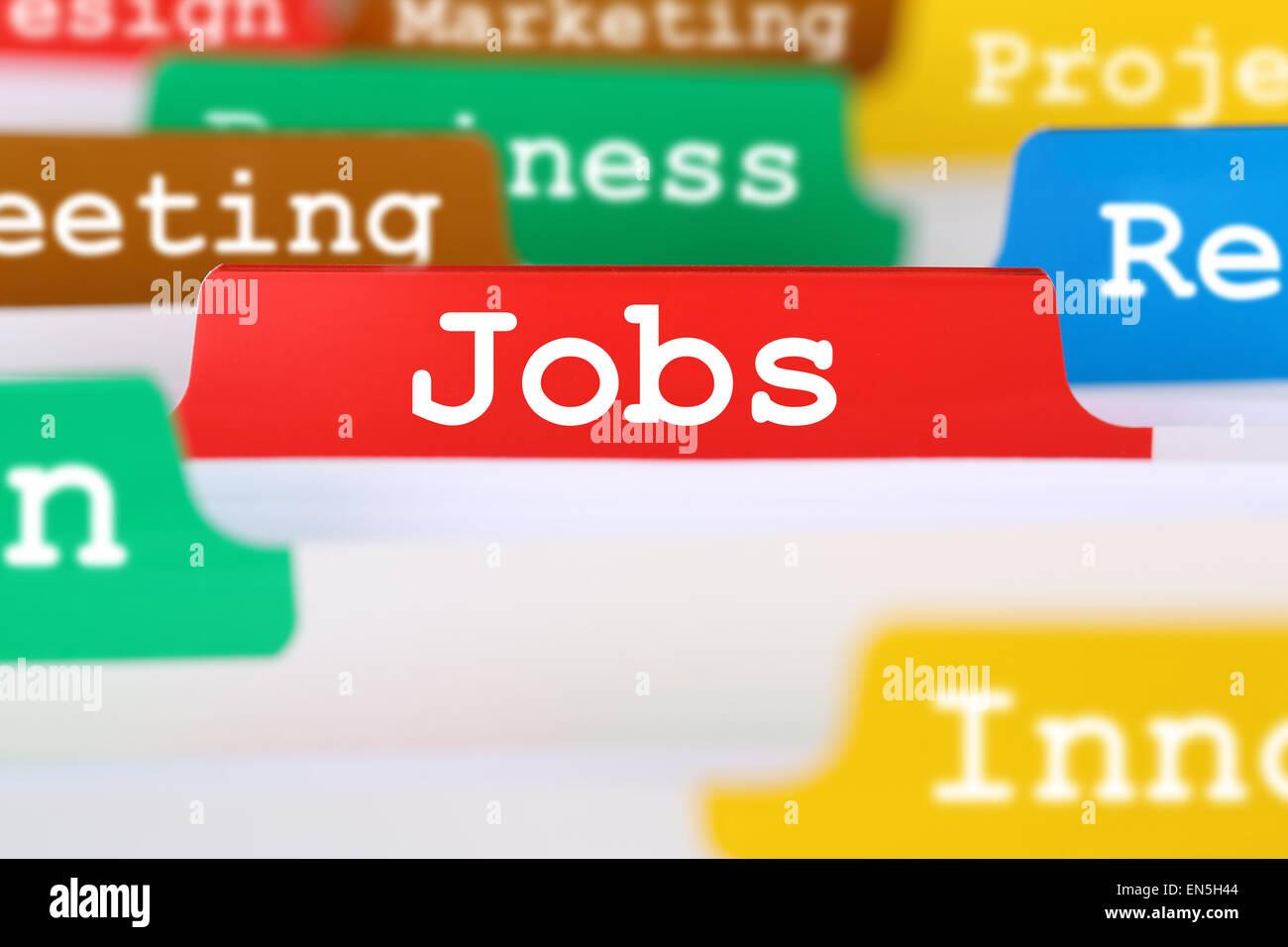 Ricerca di lavoro per lavori occupazione la concezione di business registrati nei documenti Immagini Stock