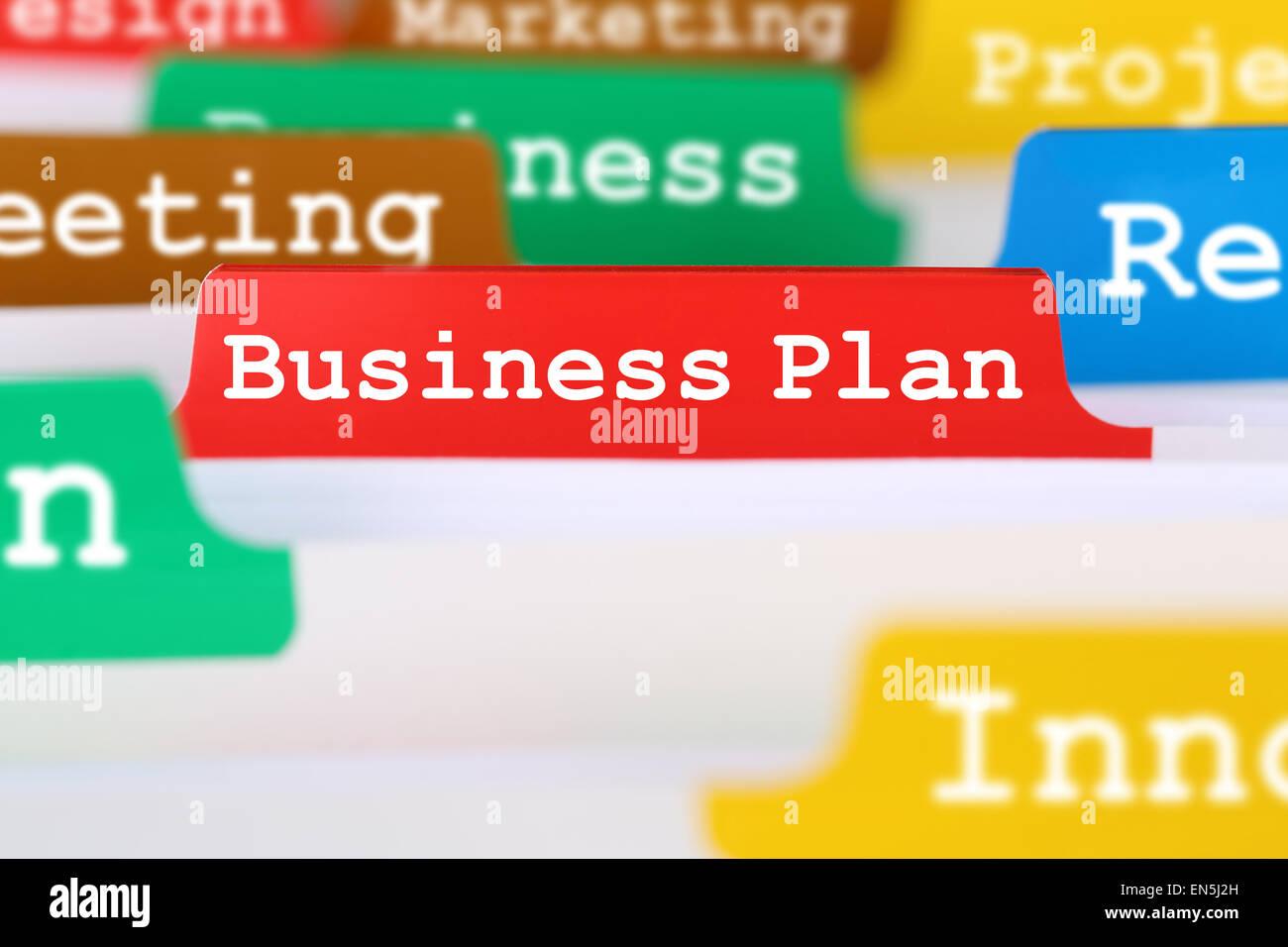 Business plan concept per il successo e la crescita in occasione del lancio di una nuova società o di avvio Immagini Stock