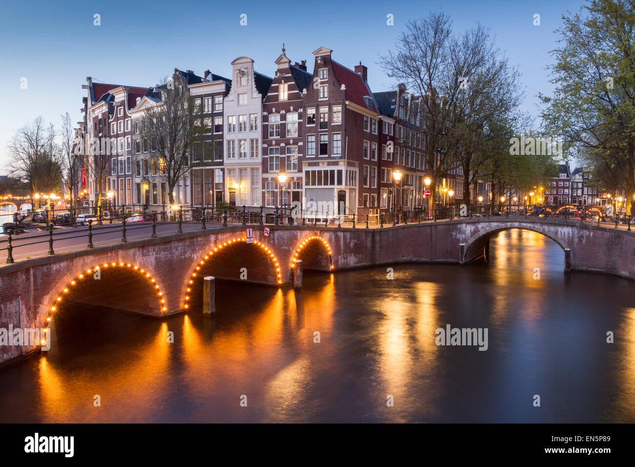 Leidsegracht di notte, Amsterdam, Olanda Foto Stock