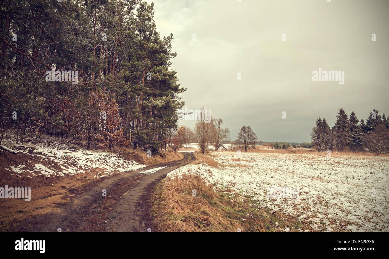 Retrò tonica tranquillo paesaggio rurale con effetto vignetta. Immagini Stock
