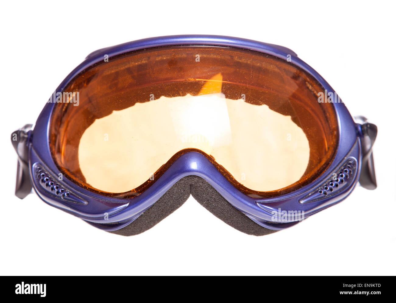 Viola occhiali da sci studio ritaglio Immagini Stock