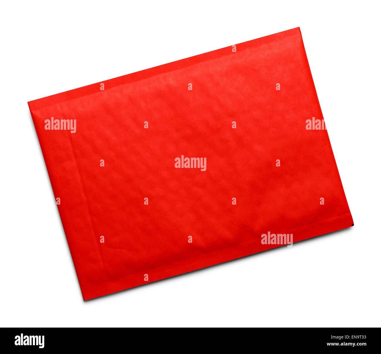 Red bolla busta con copia spazio isolato su sfondo bianco. Immagini Stock